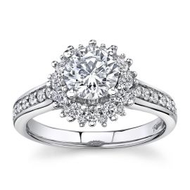 RB Signature 14Kt White Gold Diamond Engagement Ring Setting 1/2 cttw