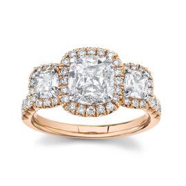 Henri Daussi 18k Rose Gold Diamond Engagement Ring 2 ct. tw.