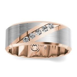 MFit 14Kt Rose and 14Kt White Gold Diamond Wedding Band 1/4 cttw