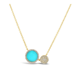 14k Yellow Gold Composite Turquoise Necklace 1/8 ct. tw.