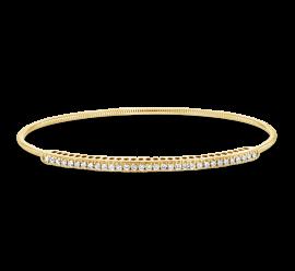 14k Yellow Gold and Titanium Wire Bangle Bracelet 1/2 ct. tw.