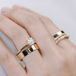 Yellow Gold Diamond Engagement Ring And Wedding Rings