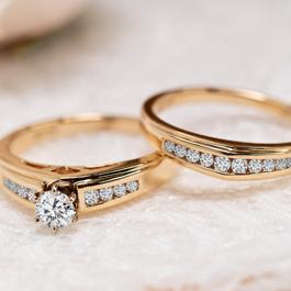 U Two 14k Yellow Gold Diamond Wedding Set 5/8 ct. tw.
