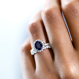 Blossom Bridal 14k White Gold Blue Sapphire Diamond Engagement Ring 3/8 ct. tw.