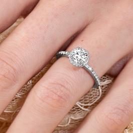 Utwo 14Kt White Gold Diamond Engagement Ring 7/8 cttw
