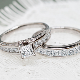 White Gold Diamond Engagement And Wedding Rings