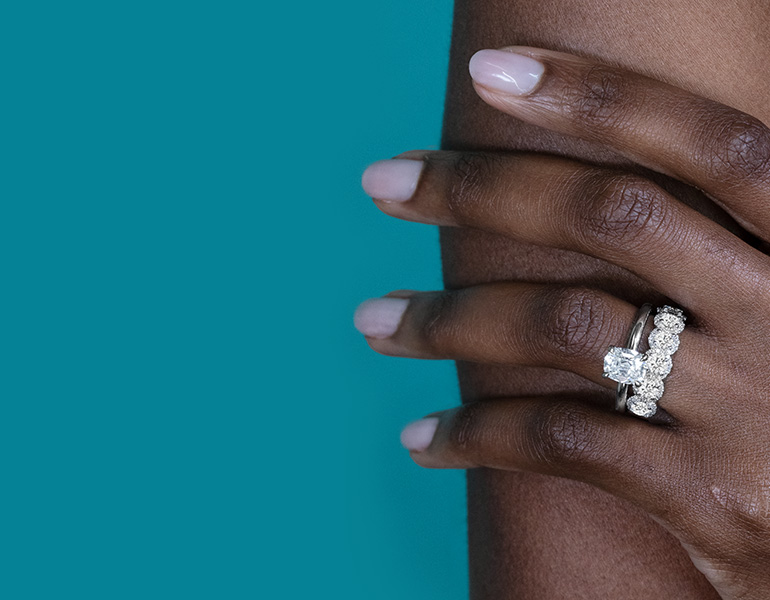 Henri Daussi Platinum Diamond Engagement Ring And 18k White Gold Diamond Wedding Band 11/2 ct. tw.