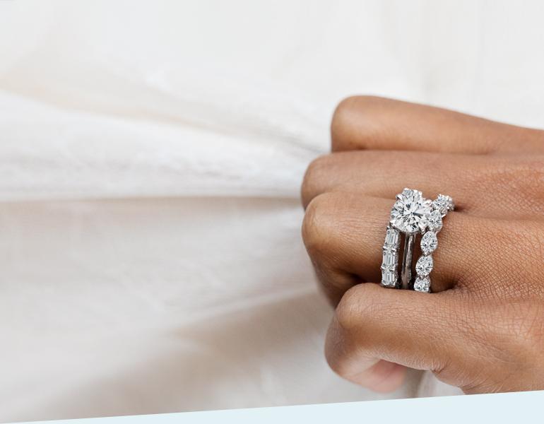 Tacori 18k White Gold Diamond Wedding Bands and and Tacori Platinum Diamond Engagement Ring